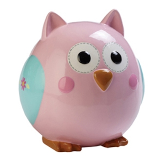 Pretty Pink Owl Ceramic Bank