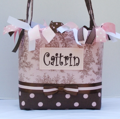 Caitrin Pink Toile  Diaper Bag