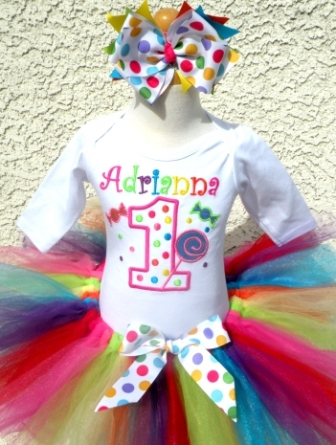 Candyland Colorful Party Birthday Tutu Outfit Set-colorful, colors, bright, candy, lollipop, sucker, birthday, party, dots, polka dots, polkadots