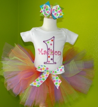 Candy Gum Drop Birthday Tutu Outfit-spring, polka dot, colorful, first birthday, party