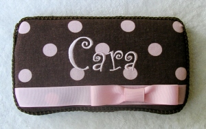 Pink & Brown Polka Dots Wipe Case-pink, brown, boutique, infant, baby girl, boutique, wipee, light pink