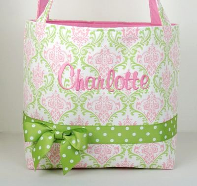 Charlotte Pink Green Lacework Diaper Bag-light pink, green, diaper bag, boutique
