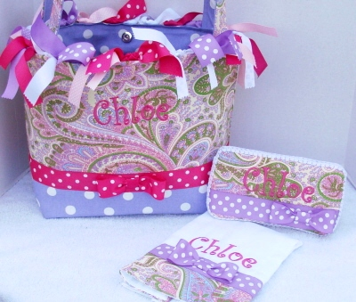 Sweet Purple & Pink Boutique Diaper Bag 3pc Set
