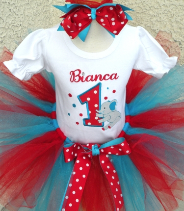 Red & Turquoise Circus Elephant Tutu Outfit Set-birthday, party, tutu set, outfit, first, turquoise, red, circus, elephant
