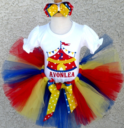 Baby Girls Circus Tent Birthday Tutu Outfit Set-circus, birthday, party, red, yellow, blue, first, 1st