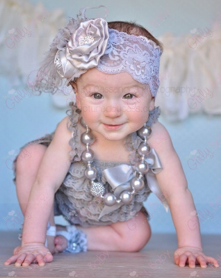Baby Girls Gray Ruffle Lace Petti Romper