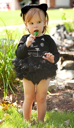 Black Cat Halloween Bling Tutu Onesie