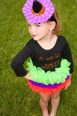 A Wee Bit Wicked Witch Halloween Tutu Onesie-witch coustume, halloween, infant, baby girl, boutique, black, orange, green, purple, ruffle tutu