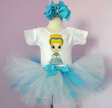 Princess Cinderella Birthday Tutu Set-blue, white, infant, baby girl, boutique, birthday party, disney, princess, tutu outfit, 1st birthday