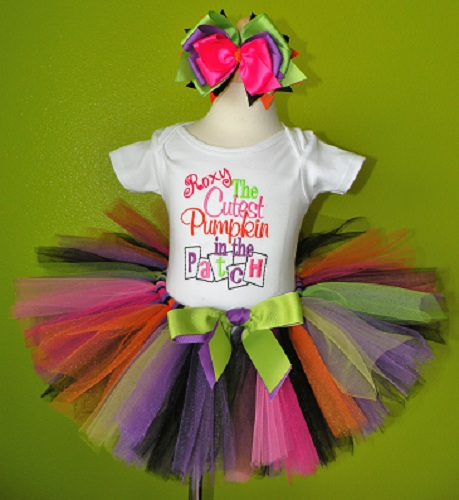Cutest Pumpkin In The Patch Halloween Tutu Oufit-purple, lime, green, lime green, white, hot pink, black, halloween party, orange