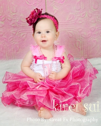 First Birthday Hot Pink Layered Ruffle Tutu Outfit Set-birthday girl, first birthday, party