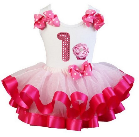 Hot Pink Birthday Party Cupcake Satin Tutu Outfit Set-birthday, party, first, 1st, infant, toddler, hot pink, white, cupcake, sequin, number, satin, tutu, skirt, outfit, set, bows