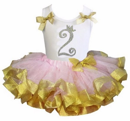Light Pink & Gold Satin Trimmed Rhinestone Birthday Tutu Outfit Set-bling, gold, shimmer, light, pink, birthday, party, first, 1st, infant, baby, girl, boutique, crown, tiara, princess, boutique, tutu outfit