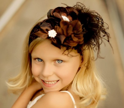 Lavish & Lace Chocolate Ribbon Bouquet Flower Headband-infant, baby girl, boutique headband, brown, flower, fall