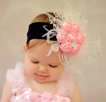 Little Lady Pink & Black Ribbon Rosettes Couture Flower Headband-infant, baby girl, boutique, hairbow