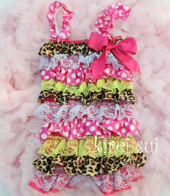Pink Polka Dots Brown Leopard Green Lace Petti Romper-lime, cheetah, loepard, hot pink, pettiromper