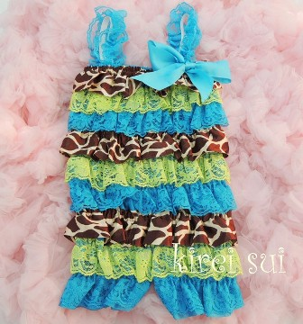Satin Giraffe Blue Green Lace Petti Romper-lime, green, blue, turquoise, giraffe, animal, print, pettiromper