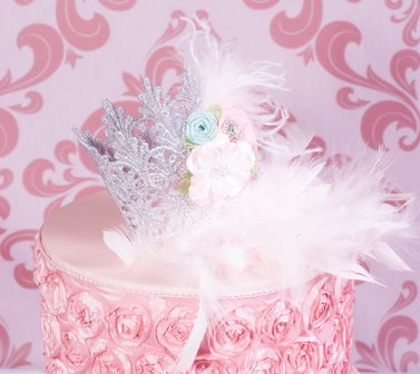 Isabella Royal Princess Silver & Feathers Mini Baby Crown-infant, newborn, baby, girl, tiara, crown, princess