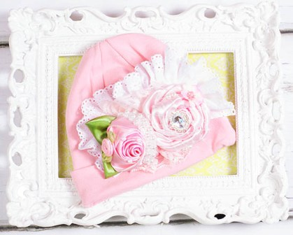 Pink Flair Lace Rosette Bouquet Baby Pink Hat-pink, lace, roses, flowers, flower, hat, cotton, pearl, baby girl, infant, newborn