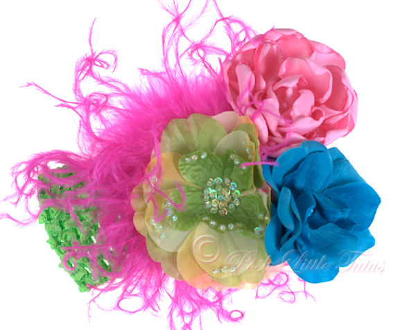 Tropical Paradise Boutique Flowers & Feathers Baby Headband