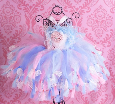 Bella Rose Lace Pink & Aqua Baby Crochet Tutu Dress