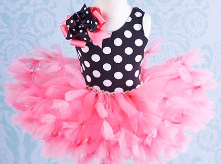 Trendy Polka Dots & Hot Pink Little Girls Tutu Outfit