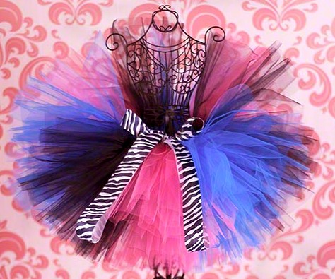Zebra Brights Funky Little Girls Tutu Skirt