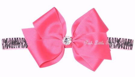Posh Diamond Diva Baby Hot Pink & Zebra Bow Headband-hot pink, hairbow, hair, bow, headband, animal print, zebra