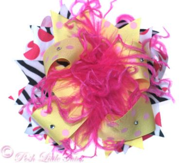 Zebra Dazzle Bright Yellow & Bling - Over-the-Top Hair Bow-yellow, hot pink, hairbow