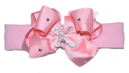 Glitzy Glam Personalized Over-The-Top Crystal Initial Hair Bow  Headband-bling, rhinestone, pink, hairbow