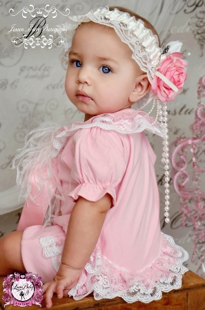 White Lace & Pink Cotton Ruffle Bum Couture Onesie