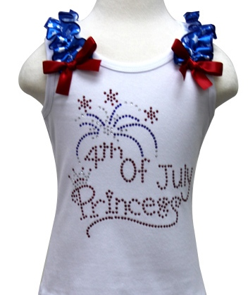 Rhinestone 4th of July Princess  Bling Ruffle Tank Top-fireworks, princess, summer, july, 4th, 4th of july, red, white, blue, shirt, tank, top