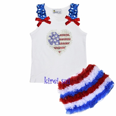 Girls Patriotic Rhinestone USA Flag Tank & Ruffle Shorts Outfit Set-bling, july, 4th, of, fourth, red, white, blue, outfit, sparkle, heart, American, patriotic