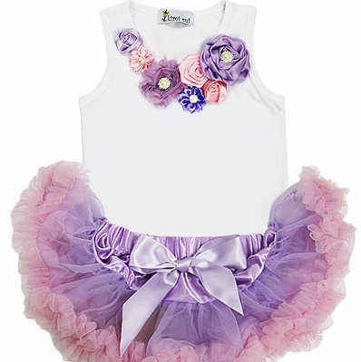 Newborn Vintage Garden Lavender & Light Pink Pettiskirt Outfit Set-lavender, pink, light pink, newborn, infant, baby, girl, boutique, spring, easter, flowers