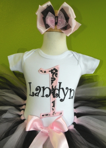 Damask Vintage Pink & Black Birthday Tutu Outfit Set