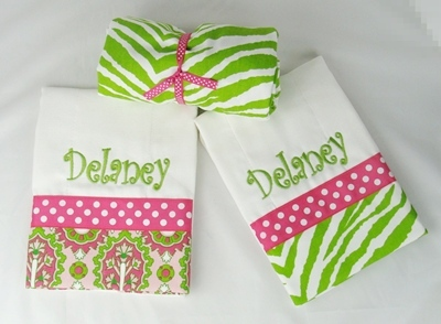 Pink & Green Zebra Monogrammed Gift Set-hot pink, lime, animal print, burp cloth