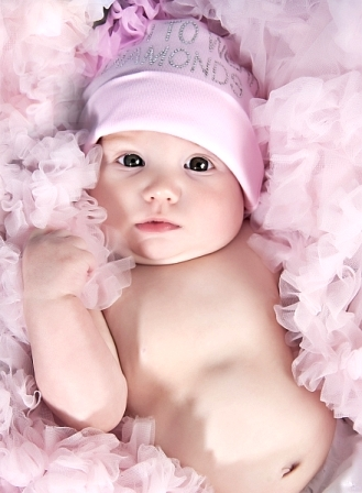 Born To Wear Diamonds Bling Baby Hat-pink princess, rhinestone, rhinestones, infant, baby girl, boutique cotton knit hat