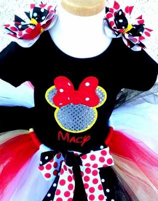 Sparkle Mouse Yellow & Red Birthday Tutu Outfit-red, black, and, yellow, minnie, mickey, mouse, disney, birthday, party, outfit, sparkle, sequins, set,