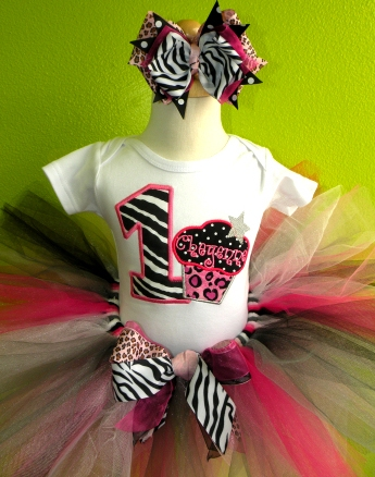 Diva Zebra Pink Cheetah Cupcake Birthday Tutu Outfit Set-pink and black, zebra, cheetah, leopard, print, cupcake, birthday, party, tutu, outfit, first