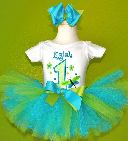Dragonfly Fancy First Birthday Tutu Outfit Set-outfit, set, turquoise, lime, birthday, party