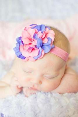Candy Pink & Lavender Geraniums Flowerette Burst Headband