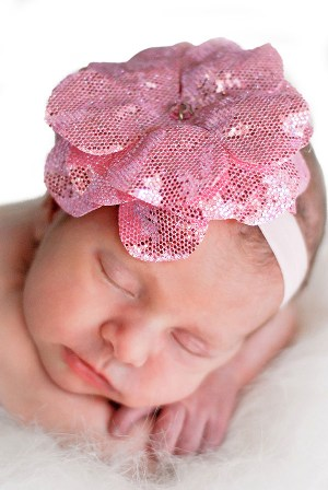 Sequins Pale Pink Rose Flower Headband-newborn, light pink, baby, girl, pink, shimmer, sparkle, sequin
