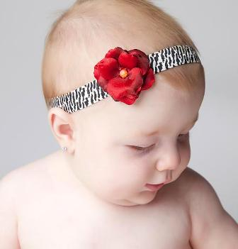 Tiny Red Zebra Rose Flower Headband-holiday, christmas, infant, bay girl, boutique, newborn, animal print