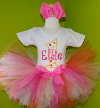 Creamsicle Polka Dot First Birthday Tutu Outfit