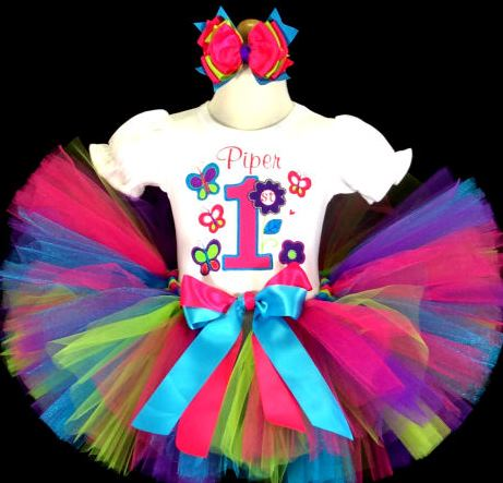 Fuchsia Flower Butterfly Turquoise First Birthday Tutu Outfit Set-first birthday, 1st birthday, birthday party, infant, baby, girl, butterfly tutu outfit, butterflies, flower tutu outfit, colorful, sweet girl tutu outfit, party tutu, infant, baby, girl, boutique, clothing