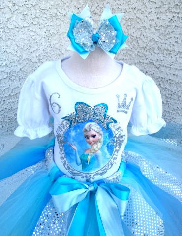 Shimmer Frozen Princess Custom Birthday Tutu Outfit Set-elsa tutu, frozen tutu, outfit, set, frozen, disney, blue, silver, white, princess, birthday party, birthday outfit, frozen birthday outfit, infant, baby, girl, first, 1st, birthday