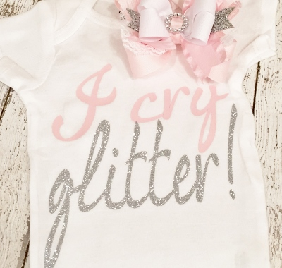 Light Pink & Silver I Cry Glitter Onesie-light, pink, and, silver, sparkle, onesie, shirt, glitter