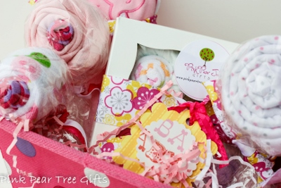 Darling Baby Girl Shower Gift Basket-newborn, infant, baby, girl, boutique, onesie, socks, wash cloth, diaper, blanket, towel, gift, gift set