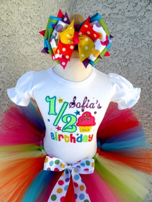 Girls Half 1/2 Birthday Shirt Tutu Outfit Set-colorful, bling, rhinestone, 1/2, half, birthday, shirt, onesie, tutu, hair bow, bow, outfit, set, yellow, purple, orange, turquoise, blue, hot pink, green, rainbow