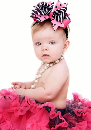 Girls Love Zebra Couture Headband Hair Bow-hot pink and black, zebra, posh, infant, baby, headband, hairbow, boutique